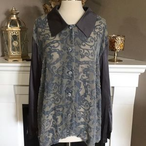DVF Silk Assets Gray Silk/Velvet Burnout Shirt